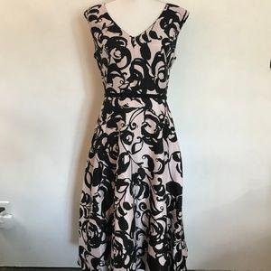 Taylor Pink & Black Floral Belted Dress
